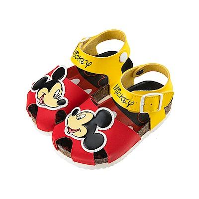 迪士尼童鞋 米奇 魔鬼氈立體護趾涼鞋-紅