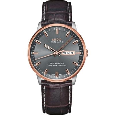 MIDO 美度 Commander 香榭系列天文台機械腕錶-灰x咖啡/40mm M0214312606100