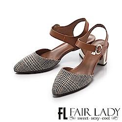 Fair Lady 優雅小姐 俏麗尖頭圓環扣粗金屬跟涼鞋 千鳥棕