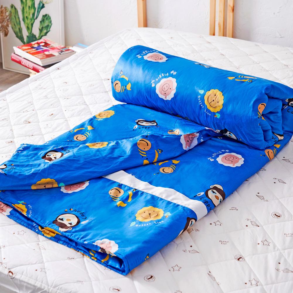 奶油獅 同樂會系列-台灣製造-100%精梳純棉兩用被套(宇宙藍)-7X8雙人特大