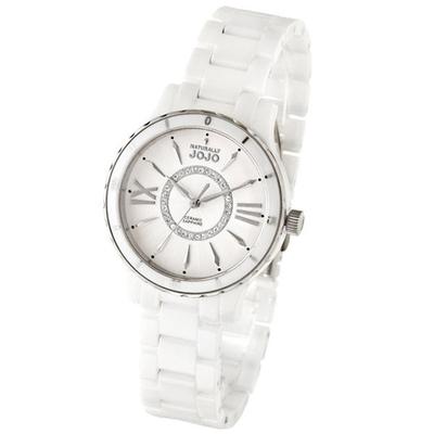 NATURALLY JOJO 奪目魅力晶鑽陶瓷都會腕錶-白銀-JO96751-80F-37mm