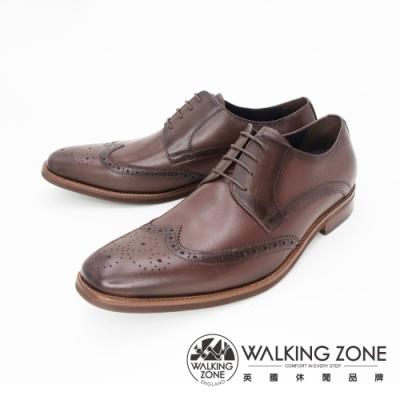 WALKING ZONE(男) 英倫牛津雕花綁帶皮鞋 男鞋-咖(另有黑)
