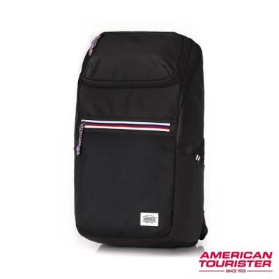 AT美國旅行者 Barton防潑水拉鍊筆電後背包15.6 (黑)