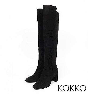 KOKKO  - 超顯瘦拼接貼腿過膝長靴-霧面黑
