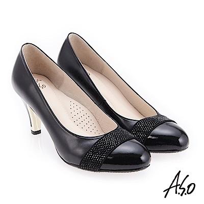 A.S.O 炫麗魅惑 職場通勤水鑽典雅高跟鞋 黑