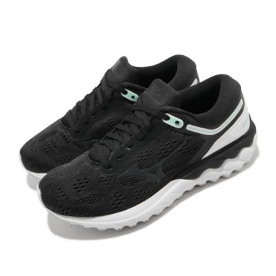 Mizuno 慢跑鞋 Wave Skyrise 運動休閒 女鞋 美津濃 路跑 緩震 透氣 球鞋穿搭 黑 白 J1GD200910