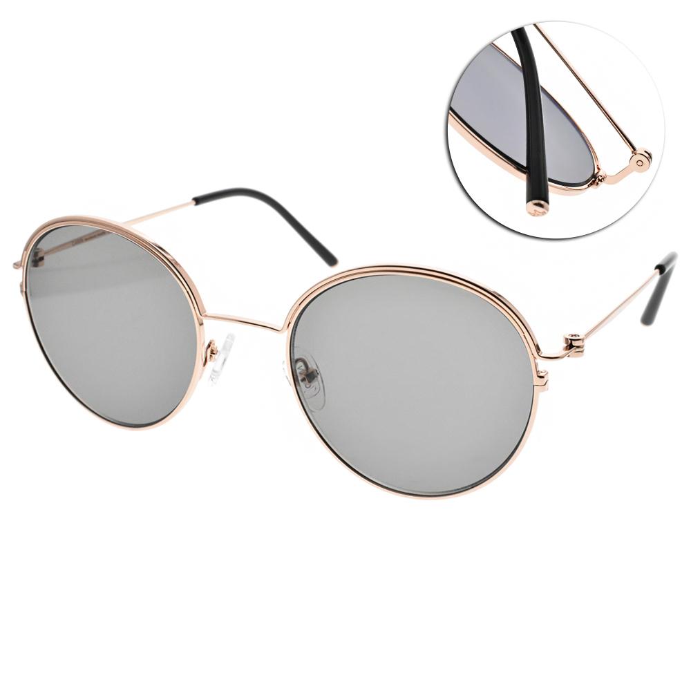CARIN太陽眼鏡 秀智代言 簡約圓框款/玫瑰金-灰綠 #DEBBIE C1