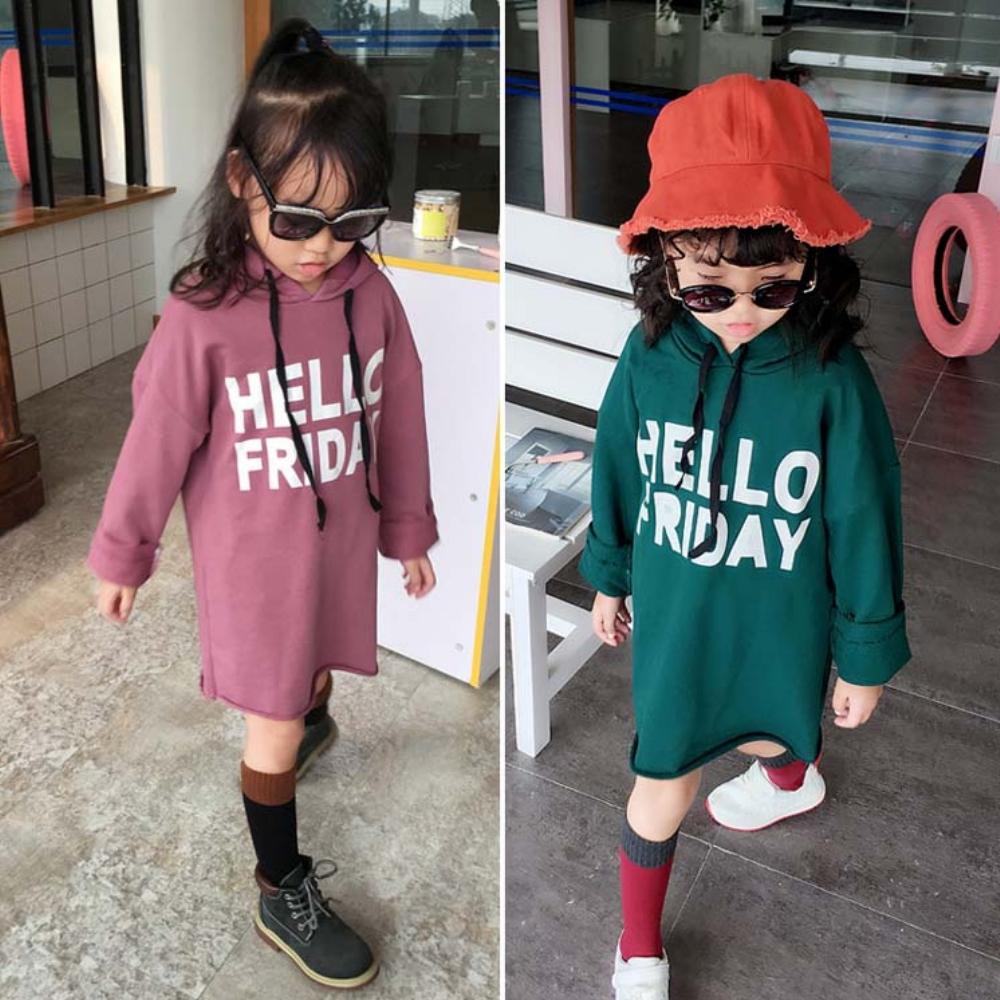 小衣衫童裝   中小童hello字母連帽長袖連身T裙1070927