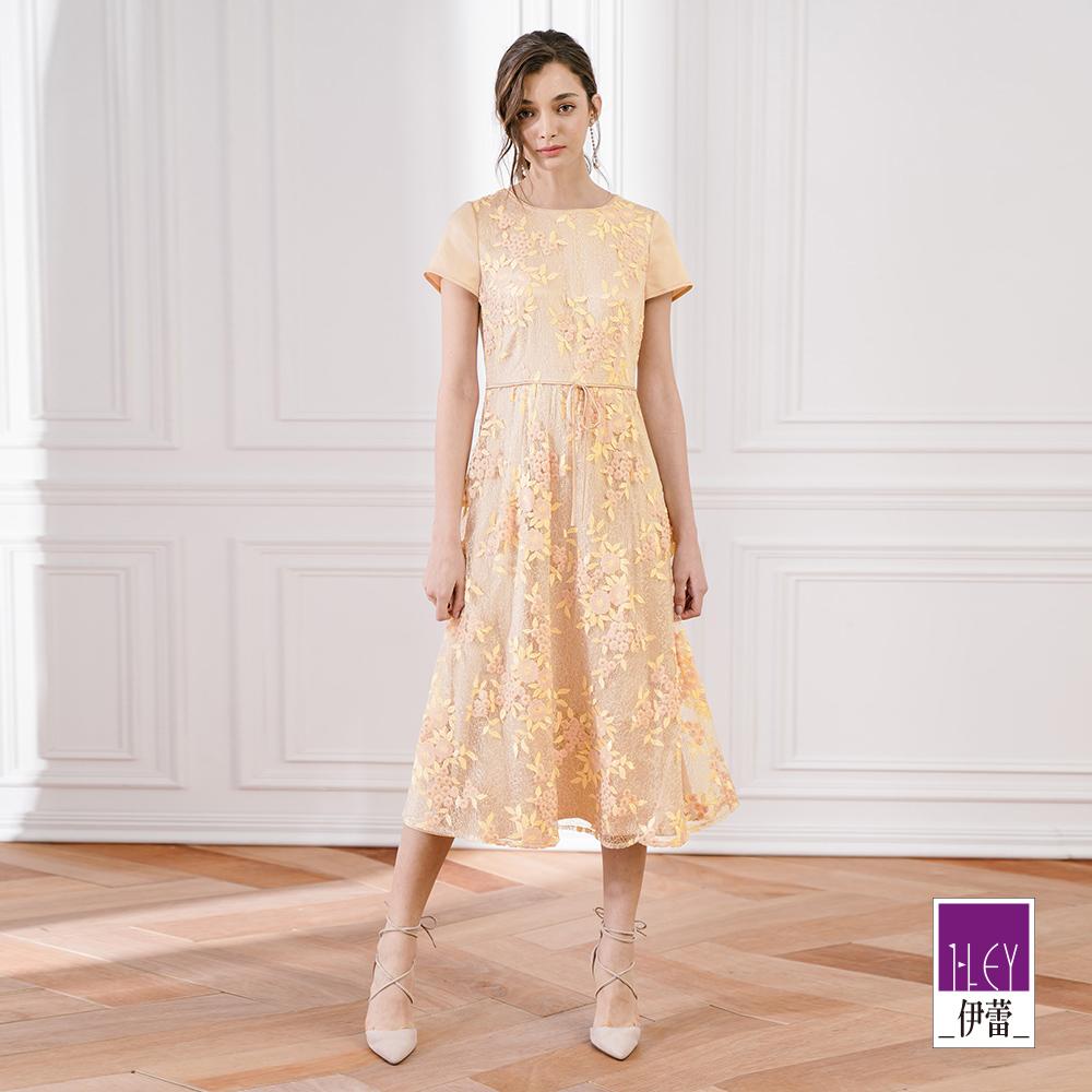 ILEY伊蕾 雙色花朵刺繡長版洋裝(米)