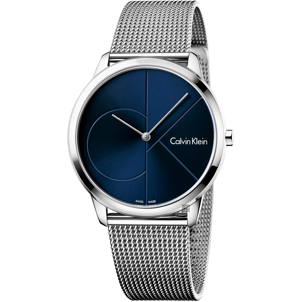 Calvin Klein CK Minimal 經典大LOGO手錶-藍x銀/40mm