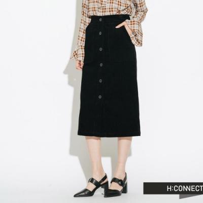 H:CONNECT 韓國品牌 女裝-質感絨面排扣中長裙-黑