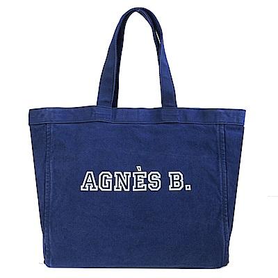 agnes b.水洗單寧帆布托特包(藍)