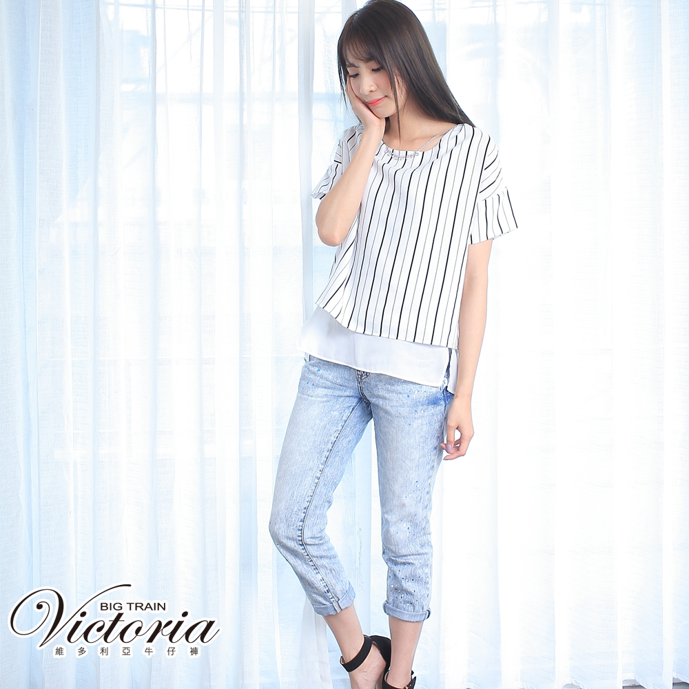 Victoria 中腰淺藍3色潑漆BF褲-女-淺藍 @ Y!購物