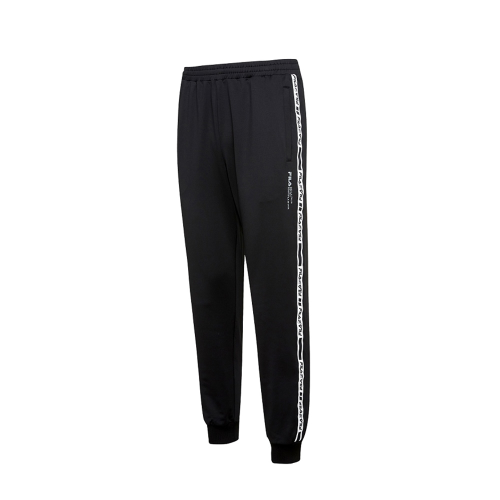 FILA 男吸排抗UV針織長褲-黑 1PNV-5304-BK