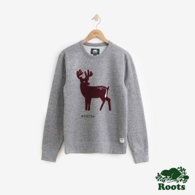 ROOTS 男裝- 森林動物刷毛圓領上衣-灰
