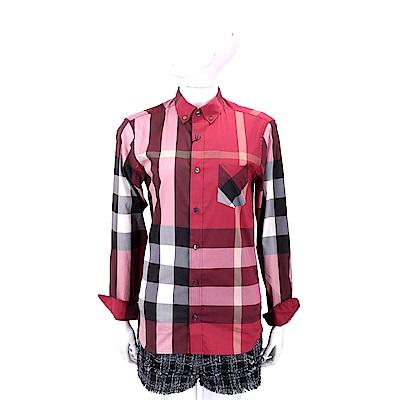 BURBERRY 扣領格紋伸縮棉質混紡紅色長袖襯衫(男/女可穿)