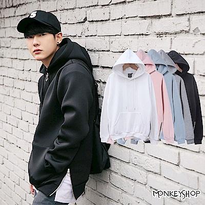 Monkey Shop MIT台灣製韓風側邊拉鍊重磅刷毛帽T長袖T恤-5色