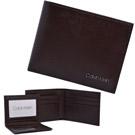 Calvin Klein咖啡色防刮立體LOGO真皮附活動卡夾雙摺短夾