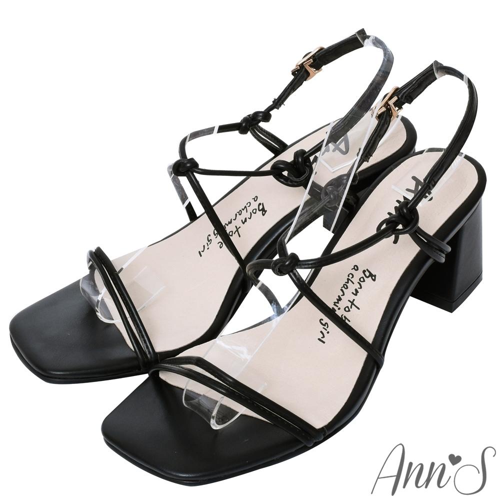 Ann'S細緻扭結V口顯瘦拉帶方頭粗跟涼鞋-黑