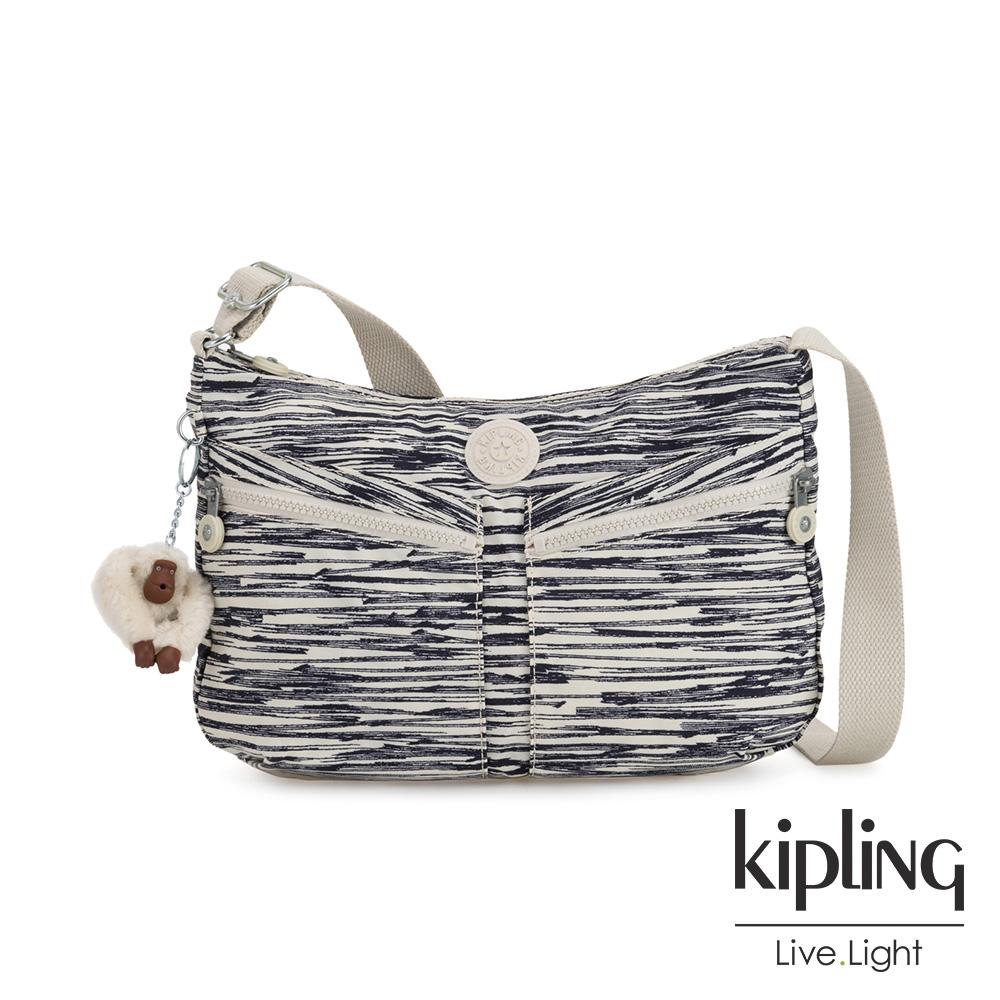 Kipling 線條塗鴉紋雙拉鍊前袋肩背包-IZELLAH