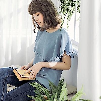 純色燒花鏤空雪紡上衣-OB嚴選