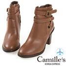 Camille's 韓國空運-繞帶釦環拉鏈粗跟靴-淺咖