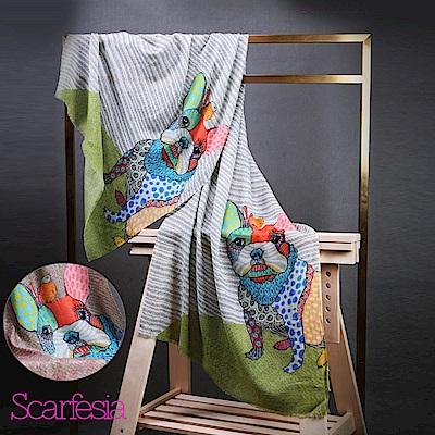 【Scarfesia】俏皮法鬥 法國藝術家親繪設計印度手工披肩圍巾(綠色)