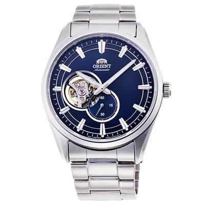 ORIENT東方時尚縷空機械錶手錶RA-AR0003L-藍X銀/40mm