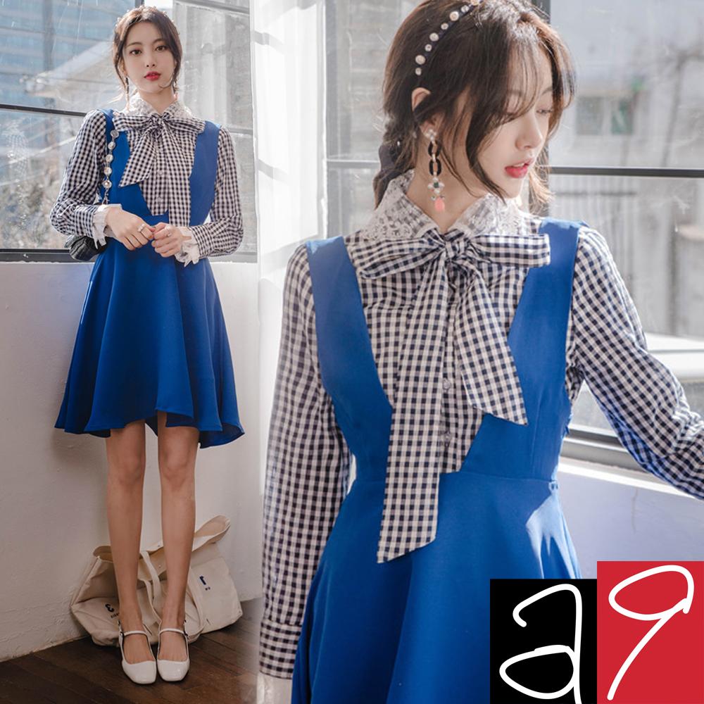 正韓 甜美格紋領結蕾絲襯衫-(海軍藍)a9