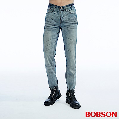 BOBSON 男款低腰壓摺半舊直筒褲
