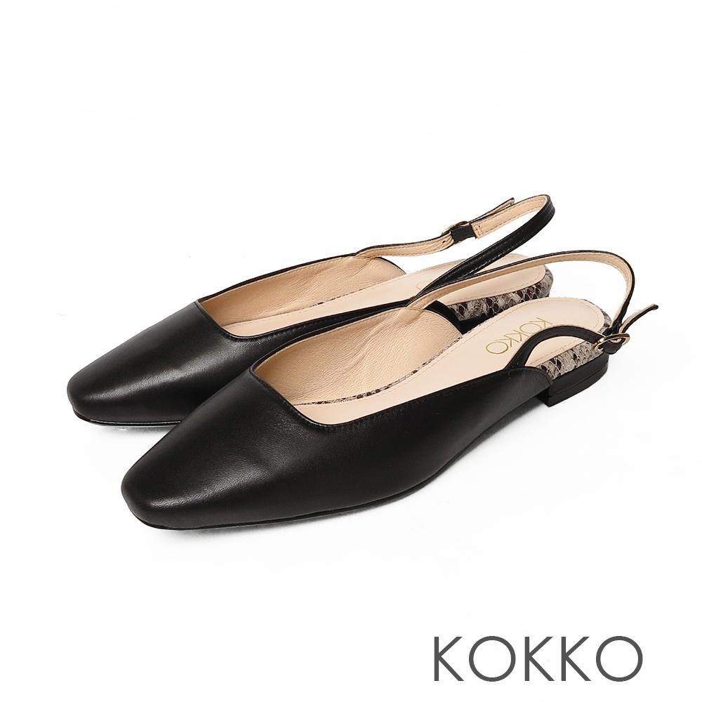KOKKO時髦方頭柔軟羊皮後帶平底鞋經典黑