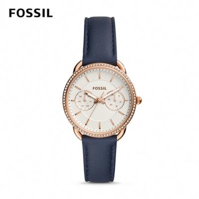 【FOSSIL】 TAILOR 深藍鑲鑽多功能皮革女錶 35mm ES4394