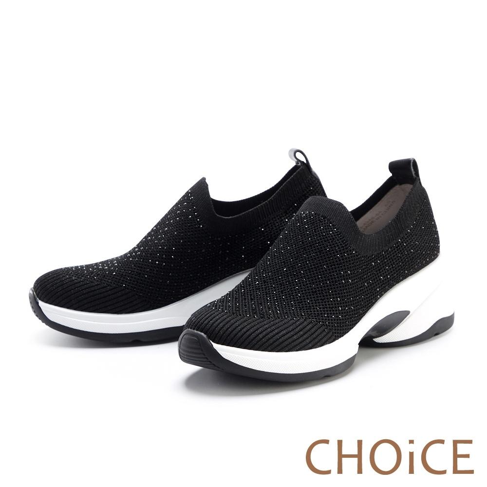CHOiCE 針織布燙鑽厚底 女 休閒鞋 黑色