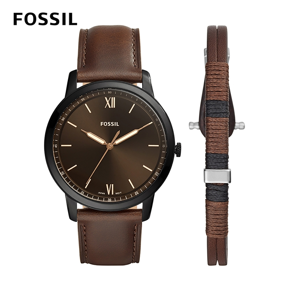 FOSSIL MINIMALIST 棕色皮革極薄款男錶和手環套組 44mm FS5557SET