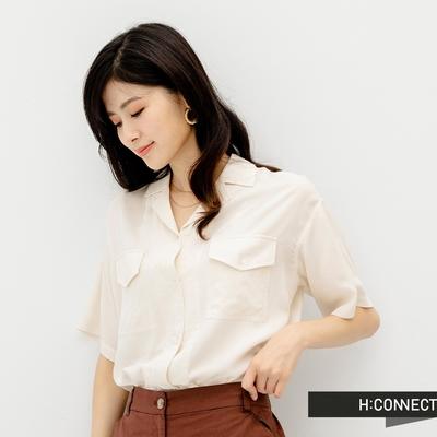 H:CONNECT 韓國品牌 女裝 - 純色質感小翻領口袋短袖襯衫-杏