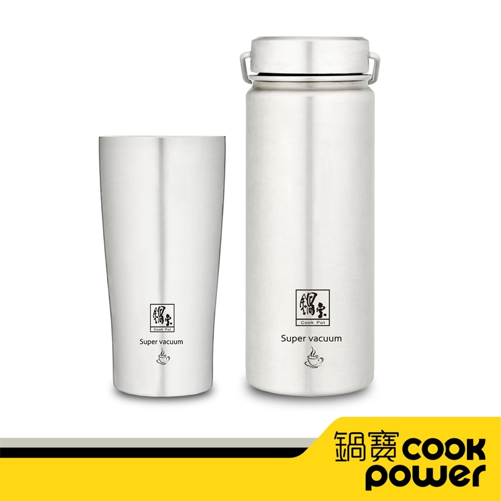 【CookPower鍋寶】316不鏽鋼內陶瓷保溫杯瓶組-共2入 EO-SVCT3649VBT36561