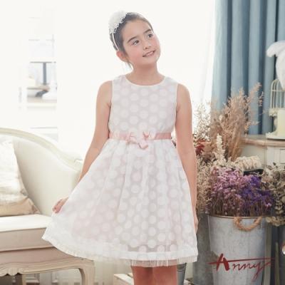 Annys安妮公主-粉色月亮圓舞曲-圓點暗紋紗裙珍珠花朵背心洋裝*8123粉紅