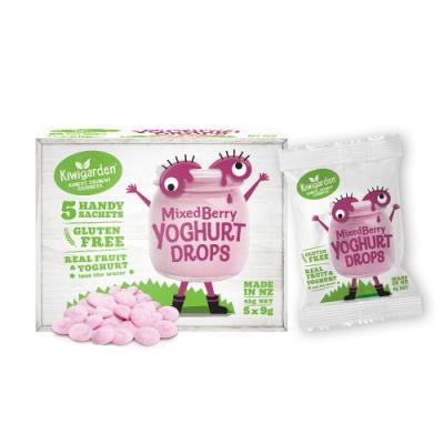 【紐西蘭 Kiwigarden】益菌優格豆 新鮮綜合莓果 9g*5包/盒(寶寶益生菌餅乾)