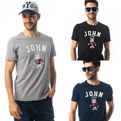 [時時樂限定]【JOHN HENRY】美式刺繡徽章短袖T恤-三色選
