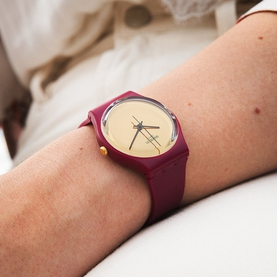 Swatch Gent 原創系列手錶 GOLDENSHIJIAN 時光1983-漢語-34mm