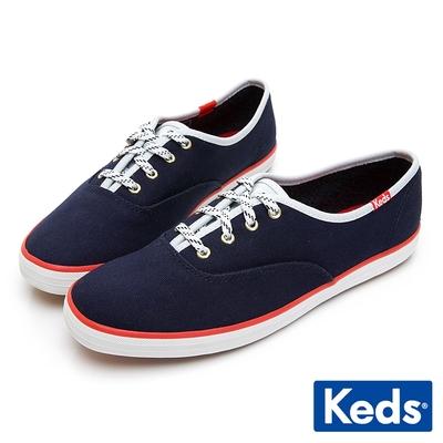 Keds CHAMPION 經典撞色滾邊綁帶休閒鞋-海軍藍