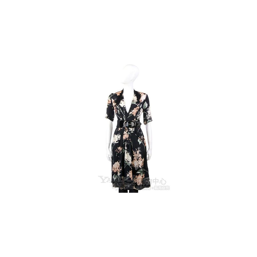 Love Sex Money-LORELLA SIGNORINO 黑色花卉圖騰短袖V領洋裝
