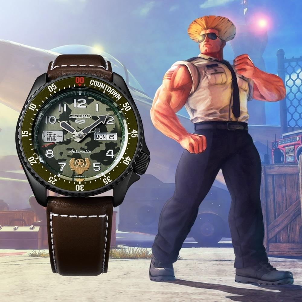 SEIKO 5 快打旋風Street Fighter V聯名腕錶-GUILE凱爾(SRPF21K1)
