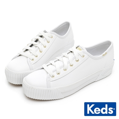 Keds TRIPLE KICK AMP 潮流Wave皮革厚底餅乾鞋-白