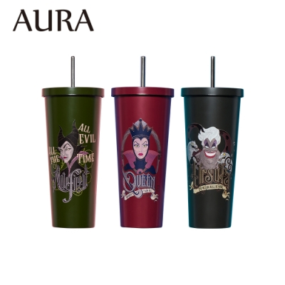 AURA艾樂 限定迪士尼反派系列不鏽鋼吸管杯700ml (3款任選)