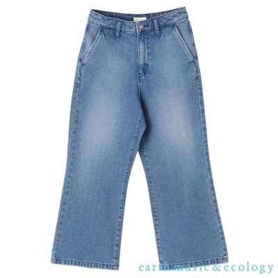 earth music 美國棉刷色喇叭牛仔褲