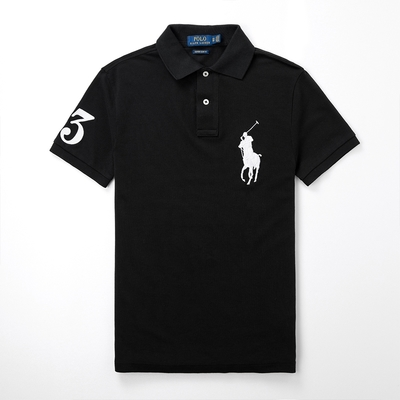 Polo Ralph Lauren 年度熱銷刺繡大馬短袖POLO衫(CUSTOM SLIM)-黑色