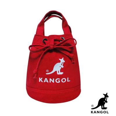 KANGOL 韓版玩色系列-帆布斜背水桶包-棗紅AKG1214