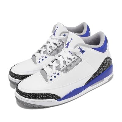 Nike 休閒鞋 Air Jordan 3 Retro 男鞋 AJ3代 復刻 喬丹 爆裂紋 小閃電 白 藍 CT8532145