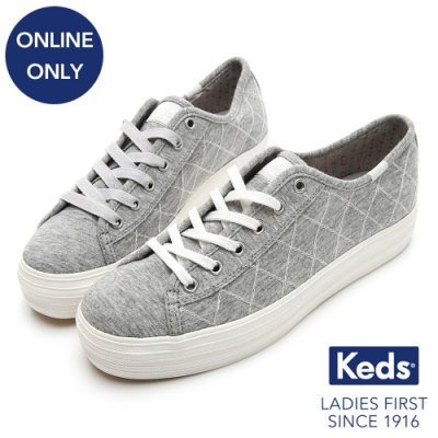 Keds TRIPLE KICK 菱格紋厚底綁帶休閒鞋-灰